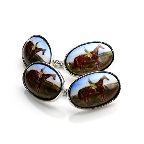 Boutons de Manchette Ovales Cheval en Argent 925/1000 - A Chaînette