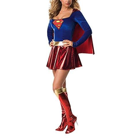 Superwoman Kostüm Supergirl Superheld Damenkostüm Fasching Karneval S 34/36 Outfit Verkleidung Damen (Clark Kent Lois Lane Kostüm)