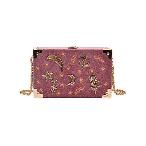 MSZYZ Weihnachtsgeschenke Single Shoulder Bag Female Satchel Kette Samt Kleinen Paket Tasche Pink