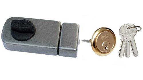 Kastenschloss Türzusatzschloss Zusatzschloss 50 + Außenzylinder Drehknauf Grau