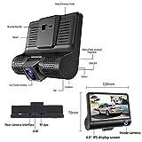 Alician 4'' 1080P 3 Lens Car DVR Dash Cam 170° Vehicle Video Recorder Rearview Camera