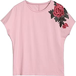 SLR Kurzarm T-Shirt Frauen Sommer lose dünne Spitze Stickerei Pfingstrose Fledermaus Fledermaus T-Shirt