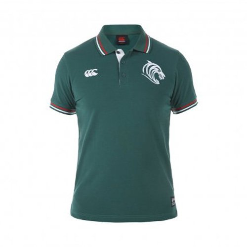 Leicester Tigers 2015 Off Field Rugby Polo Shirt Evergreen Small grün (Herren Off Polo-shirt)