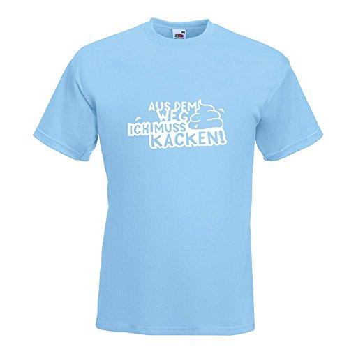 KIWISTAR - Aus dem Weg Muss kacken! Shit Klo Termin T-Shirt in 15 verschiedenen Farben - Herren Funshirt bedruckt Design Sprüche Spruch Motive Oberteil Baumwolle Print Größe S M L XL XXL Himmelblau