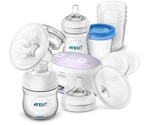 Philips Avent Tire-lait électrique SCD223/20 avec coussin de massage, biberons Natural, coussinets d'allaitement jour et gobelets réutilisables accessoires d'allaitement, transparent