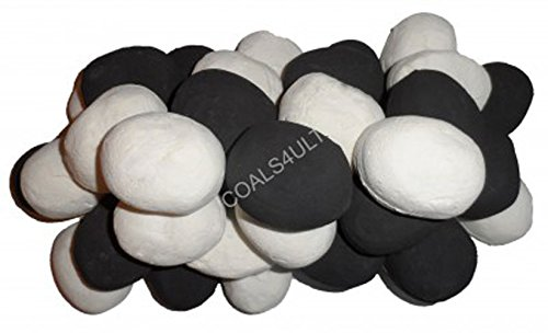 15 Black White RCF certified Gas fire Ceramic Pebbles Replacements Bio Fuels Ceramic In Coals 4 You Packing