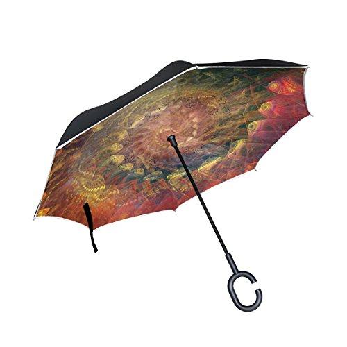 TIZORAX Spirale seitenverkehrt Double Layer gerade Regenschirme Inside Out wendbar Regenschirm mit...