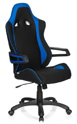 hjh OFFICE Racer Pro II Silla de Oficina, Tela, Negro y Azul, 90x32x65