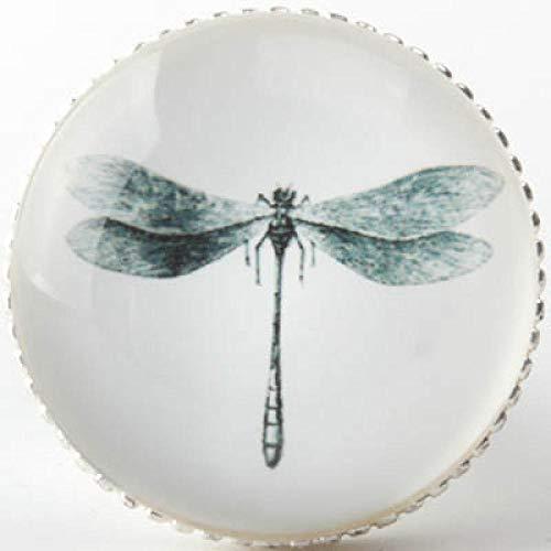 ZTZT Moderne und einfache Zinklegierung Einlochmontage kleiner Griff Mediterrane Gartenmöbel Schranktür Schublade runder Griff, silberne Libelle