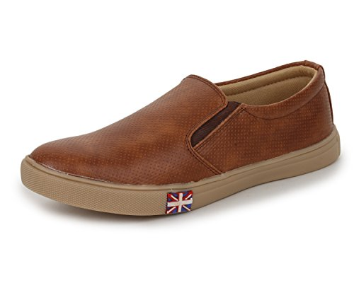 Trase Style Brown Faux Leather Sneaker Casual Shoe for Men-9 IND/UK
