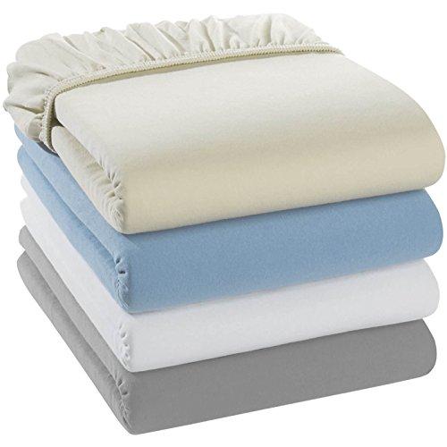 2x quschel Kinder-Spannbettlaken weiß 40x90cm aus 100% Bio-Baumwolle, GOTS zertifiziert