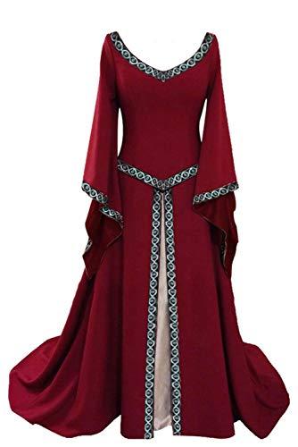 tianxinxishop Disfraz de V Cuello en V Medieval para Mujer Vestido Largo Manga Larga Vintage Rojo, S