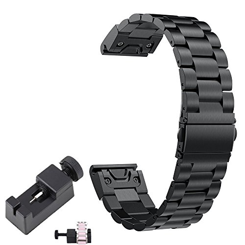Chofit Fenix 5Plus Band Metall Quick Release Ersatz Business Style Edelstahl Armband 22mm für Garmin Fenix 5Plus Smartwatch, Schwarz