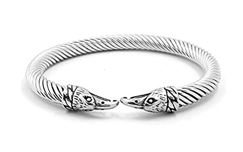 Vnox Men's Stainless Steel Cable Wire Twisted Eagle Head Cuff Bangle Bracelet Punk Gothic Jewellery