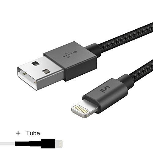 Lightning-Kabel, Nylon geflochten [Apple MFi-Zertifizierung], uni Lightning zu USB-A Kabel, angeschlossen Ein einzigartiger Schrumpfschlauch, kompatibel mit iPhone XS Max/XS/XR/X, iPad-0,9m-Space Grau