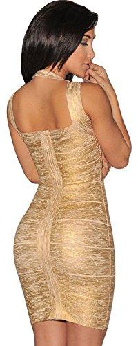 Nuovo da donna oro argento con angoli elasticizzato di alta qualità Benda Bodycon Mini Party Dress Club Wear molto attraente Dimensioni (8-14) Gold