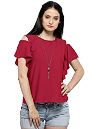 743ce26c08e50b Serein Women s Top (Wine Crepe Georgette top with Cold Shoulder and Ruffles)