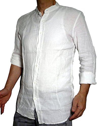 Fantasy camicia puro lino taglio avvitato slim collo coreana manica lunga leggera fresca estiva uomo ragazzo (l 46 it uomo vita 90-92, bianco)