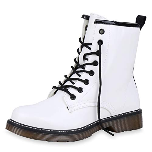 SCARPE VITA Damen Stiefeletten Worker Boots Profilsohle Lack Leicht Gefüttert 168919 Weiss Lack Leicht Gefüttert 36