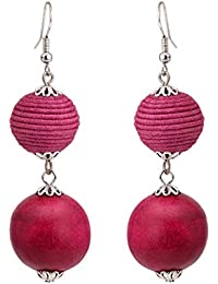 Zephyrr Earrings Wooden Beaded Pink And Purple Dangler Thread Work & Silver Tone For Women And Girls