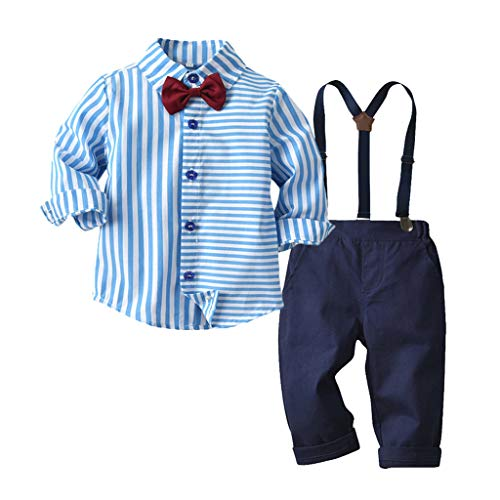 MCYs Kleinkind Baby Boys Gentleman Fliege gestreiftes T-Shirt Tops + Hosenträger Hosen Outfits