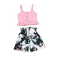 Axong 2pcs Toddler Baby Girl Pink Strap T-Shirt Tops+Casual Floral Shorts Clothes Set