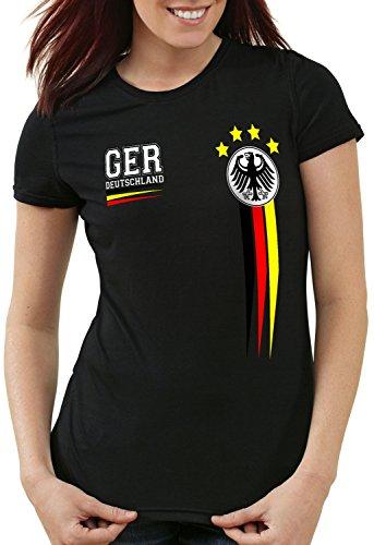 style3 Deutschland Damen T-Shirt Germany Fußball Weltmeisterschaft Trikot WM 2018, Farbe:Schwarz, Größe:L