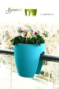 GREENBO pots à fleurs TURQUOISE en plastique - Jardinière De Balcon À Plantes - dans d'autres coloris également disponible (support non-obligatoire)