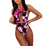 CICIYONER ❤️❤Bikini Set Damen Frauen Pailletten Verband Jumpsuit Push-Up Gepolsterter BH Bikini Badeanzug (L, Hot Pink)