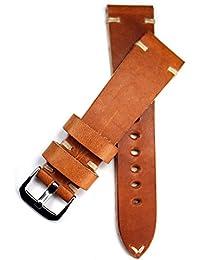 22mm Rios mano piel banda costuras blancas. 22/18mm banda retro Quality Strap marrón claro BS Top calidad