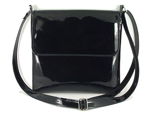 LONI Damen Lack Kunstleder Umhängetasche Schultertasche Crossbody in (Schwarze Handtasche Lack)