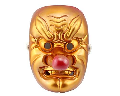 HAOBAO Halloween-Maske Theatermaske Maske aus Harz Buddhistische Maske Samurai-Maske Japanische Tengu-Maske, Gold (Buddhistische Kostüm)