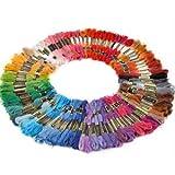 WAWO 100X Docken Sticktwist Stickgarn 8m 6-fädig Multicolor farblich bunt