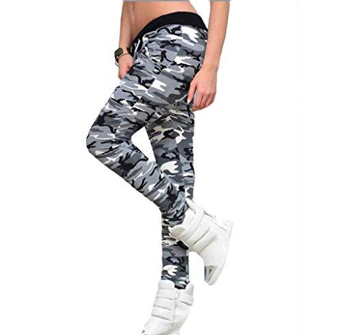 Tongshi Fitness polainas camuflaje mujer elastizada Yoga gimnasio de deportes pantalones (Multicolor, L)