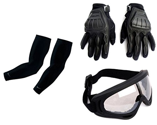 Auto Pearl Premium Quality Bike Accessories Combo Of Arm Sleeve for Protection against Sun, Dust and Pollution Black 2 Pcs. & Scoyco MC-10 1 Pair of Hand Grip Gloves for Bike Motorcycle Scooter Riding - (Black) & Premium Quality Adult Motorbike Motocross ATV / Dirt Bike Racing Transparent Goggles with Adjustable Strap - BLACK  available at amazon for Rs.2001