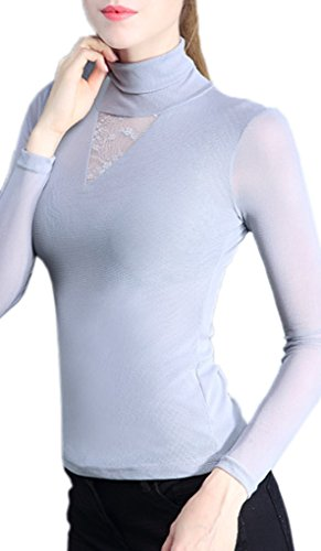 Smile YKK Top Femme Dentelle Tulle Pull Col Montant T-shirt Manches Longues Grande Taille Gris