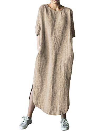 AUDATE Damen Übergroße Retro Casual Langes Kleid Baumwolle Leinen Solide Knöchellang Kleider Khaki DE 50 -