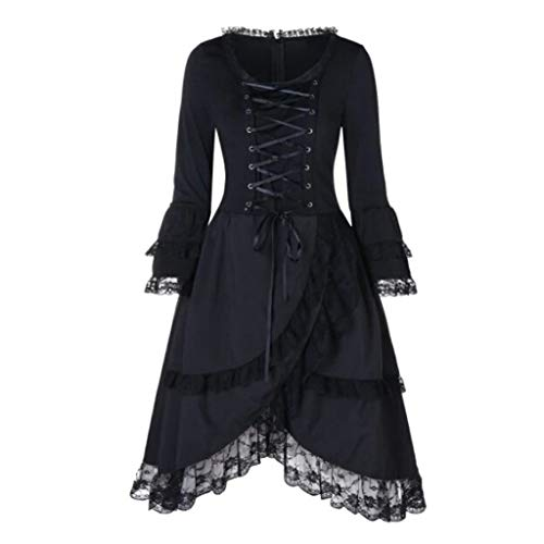 Lazzboy Frauen Vintage Langarm Lace Up Volants Layered Midi-Kleid Halloween Schwarze Voller Länge Kleid Damen Gothic Kostüm Cosplay Satan Hexe Vampir(Schwarz,S) (Prinzessin Zelda Kostüm Kind)