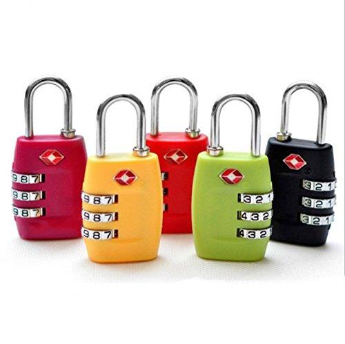 Bulk Hardware 1x TSA Reise Kombination 3Koffer Gepäck Kombination Vorhängeschloss Nummer Code Lock Pin für Gepäck Koffer und Reisen–in versiegelter Blister Pack (schwarz)