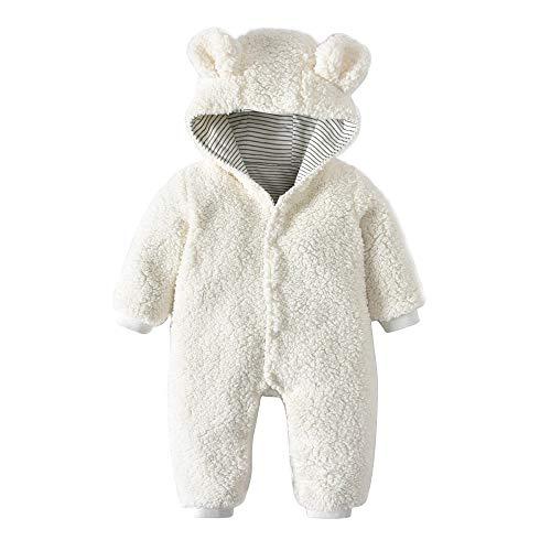 Kobay Neugeborenen Baby Jungen Mädchen Plüsch Dicker Abschnitt Doppel Warme Cartoon Bären Ohren Mit Kapuze Strampler Overall(0-6M,Weiß)