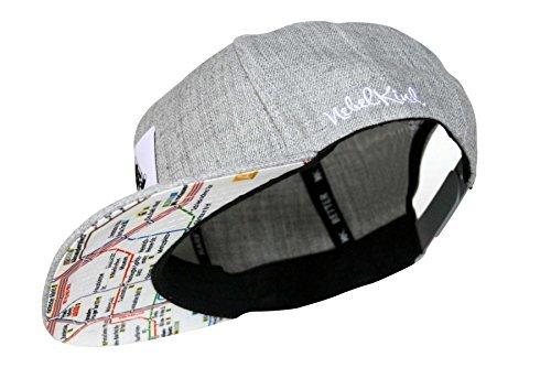 Preisvergleich Produktbild Nebelkind Snapback Cap grau mit Berliner U-Bahn Netz / Berlin Netzplan onesize unisex