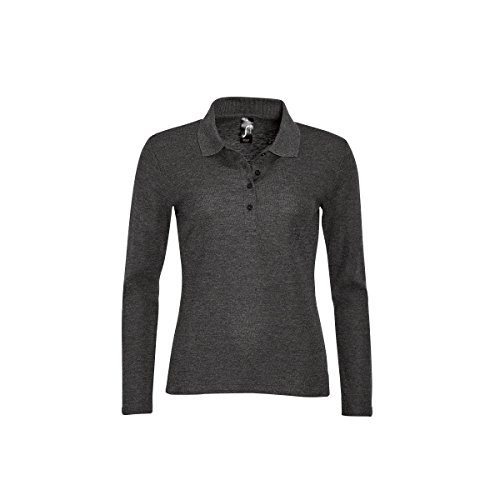 SOLS Podium Damen Pique Polo-Shirt, Langarm (M) (Graphit Meliert) (Langarm-shirt Graphit)