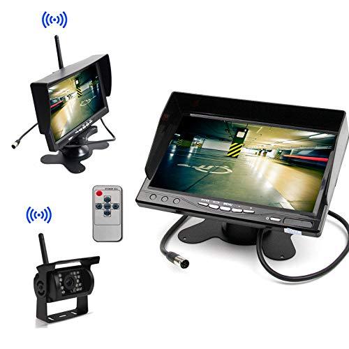 """12-24V Eingebaut Funk LKW Einparkhilfe System 100M Übertragung Starkmotorisch 7\"""" Monitor + Schwerlast 4-IR Nachtsicht Rückfahrkamera Rückfahrsystem Autoparksysteme"""