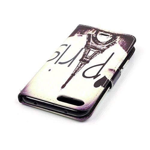 Coque pour Apple iPhone 7, Aohro PU Cuir Portefeuille Housse Etui de Protection Flip Wallet Bookstyle Stand Cover Case avec Fentes de Cartes, Fonction Support - Grimace Tower