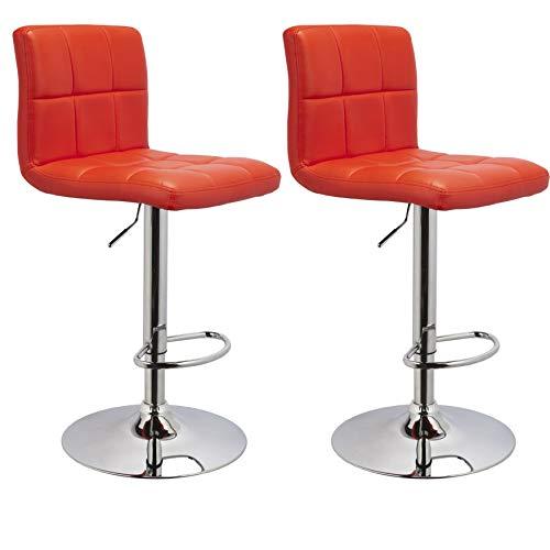 Duhome Barhocker 2X Barstuhl Kunstleder ROT, Drehstuhl, Tresenhocker (Typ 9-451Y) Bar Sessel, gut gepolstert, Bodenschoner, mit verchromten Griff, höhenverstellbar, gut gepolstert mit Lehne, eckig
