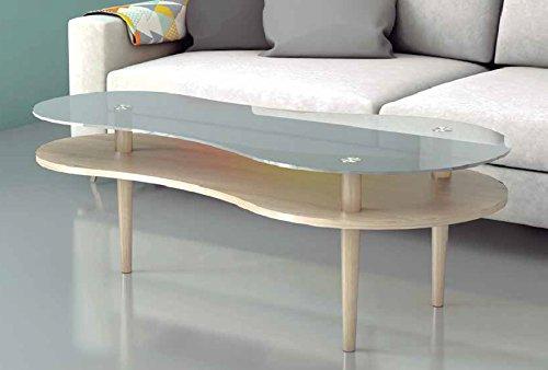 PEGANE Table Basse Coloris chêne en Bois et Verre - Dim : 140 x 70 x 46,8 cm