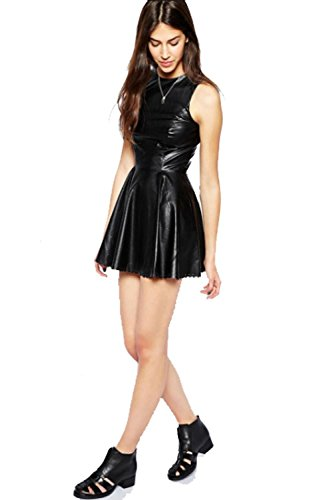 Vanilla Inc New Ladies Womens Wet Look PVC Belted Plus Size Flared Celebrity Skater Dress UK SIZE 8-26