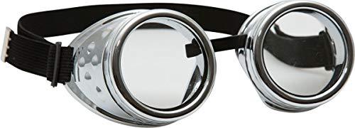 Mad Max Kostüm 2 - Orlob Steampunk Schweißerbrille - Silber - Zubehör Erfinder Zeitreisender Kostüm Goggles Retropunk Schweißerbrille