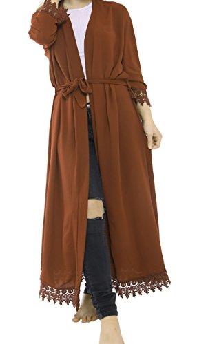 Malaika® Womens Batwing Lace Cardigan Floaty Cape Abaya Full Length Kaftan Ladies Cocktail Vintage Long Maxi Dress Casual Jacket Coat (UK 8-14) (S/M (UK 8-10), Rust)