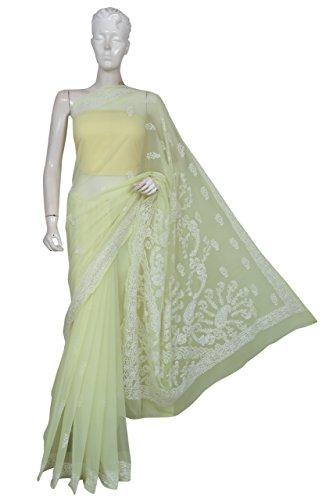 ADA Lucknowi Chikankari Handmade Womens Ethnic Faux Georgette Saree A191617